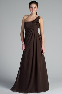 Floral Single Strap A-Line Chiffon Long Bridesmaid Dress Empire Waist