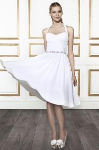 Knee-Length Halter Criss-Cross Chiffon Wedding Dress With Waist Jewellery And V Back