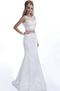 Crop Top Trumpet Sleeveless Prom Dress With Lace Bodice