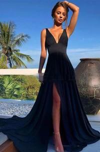 Sleeveless V-neck A-Line Jersey Open Back Dress