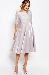 Knee-Length A-Line Bateau Neck Illusion Sleeve Taffeta Bridesmaid Dress