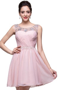 Elegant Sleeveless Crystal Short Homecoming Dress 2018 Chiffon