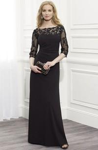 Sheath Floor-Length Appliqued Bateau-Neck Half-Sleeve Jersey Formal Dress With Beading