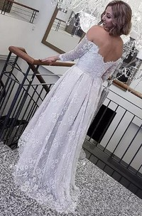 A Line Off-the-shoulder Lace Open Back Zipper Wedding Gown