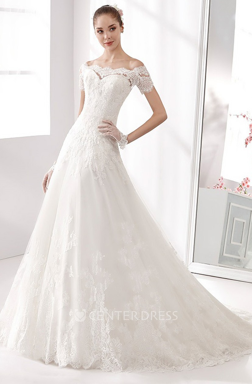 Off shoulder A line Wedding Dress with T shirt Sleeves and Brush Train