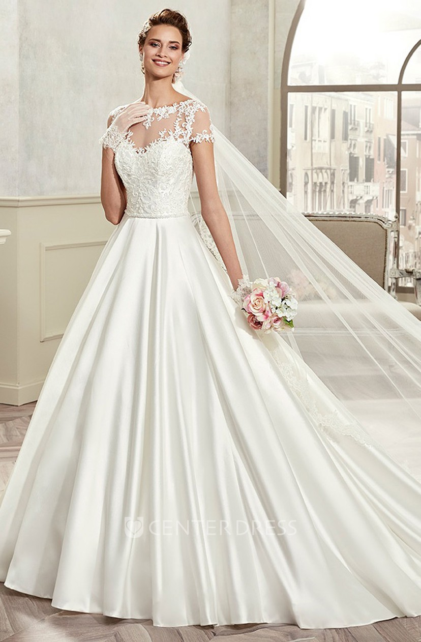 Jewel Neck A Line Bridal Gown With T Shirt Sleeves And Pleated Satin  Wedding Dress